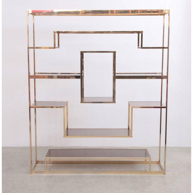 Large Romeo Rega shelf with brown glass and brass frame. Shelf and glass is in very good condition.