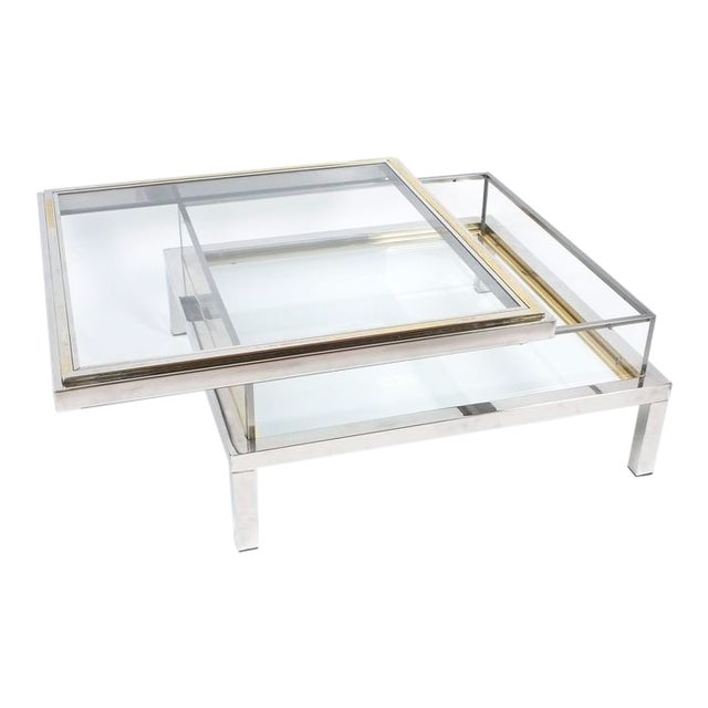 Refurbished Maison Jansen Brass and Chrome Coffee Table with Interior Display For Sale