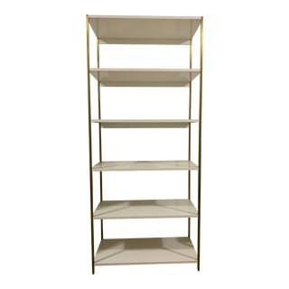 White West Elm Wide Zane Bookcase For Sale