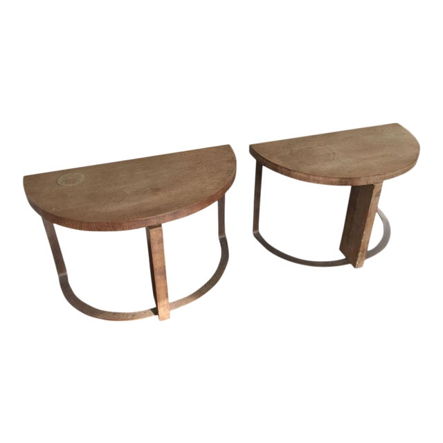 Artist Crafted Wood and Steel Demilune Side Tables - A Pair - Image 1 of 7