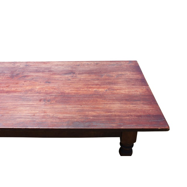 Early 21st Century Large Rustic Farm Table For Sale - Image 5 of 12