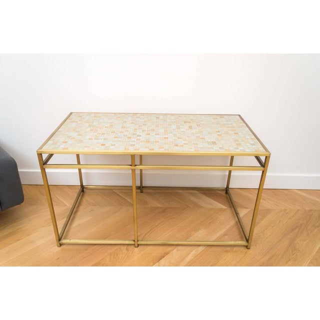 Contemporary Brass Tile-Top Console Table For Sale - Image 3 of 8