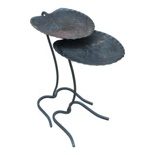 Mid Century Modern Salterini Lilypad Wrought Iron Nesting Tables - 2 Pieces For Sale