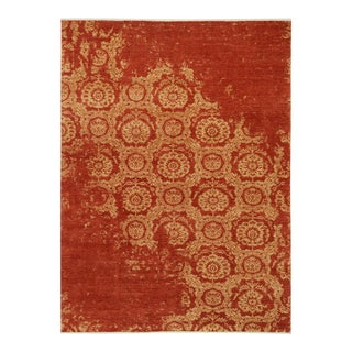 Abstract Modern Ozella Rust/Gold Wool Rug - 9'1 X 11'9 For Sale