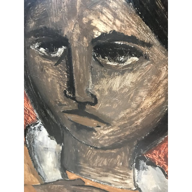 "In the Style of Esperilio Bute (1931 - 2003) ""Portrait of a Girl"" Likely Acrylic on Board Signed ""Bute"" For Sale - Image 10 of 13"