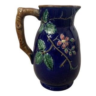 Vintage Cobalt Majolica Floral Pitcher For Sale