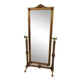 Antique Prussian Art Deco Brass Floor Mirror For Sale