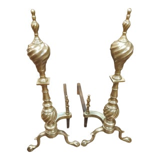 Vintage 1930s Brass Ball and Claw Feet Andirons - a Pair For Sale
