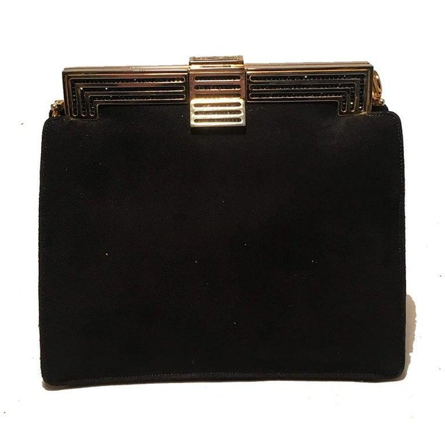 Judith Leiber Black Suede Evening Bag Clutch with Silk Tassel in excellent condition. Black suede exterior trimmed with...