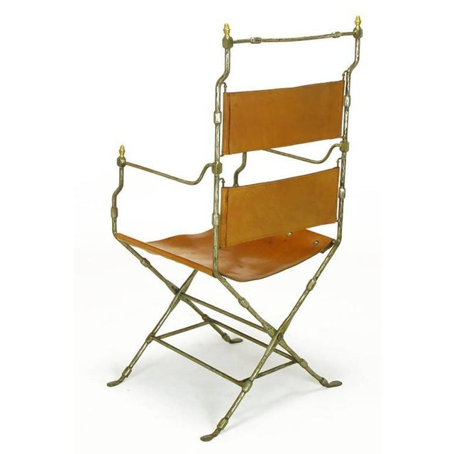 Four Custom Leather and Hand-Forged Iron X-Base Sling Chairs For Sale - Image 4 of 10