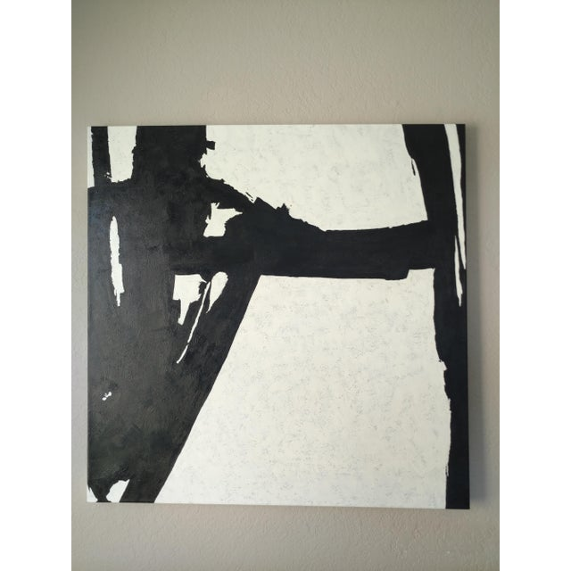 Hand Painted Large Black & White Abstract Painting - Image 6 of 11
