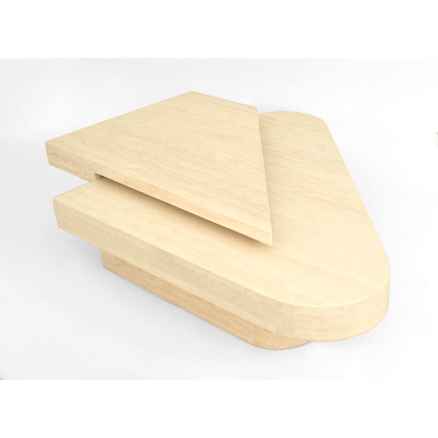 1980s American Two-Tiered Geometric Travertine Coffee Table For Sale - Image 5 of 5