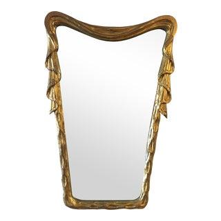 Antique Venetian Gilt - Wood Draped Mirror For Sale