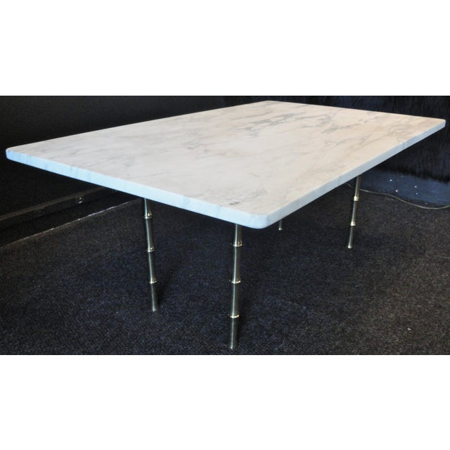 Mid-Century Modern Italian Mid-Century White Marble Cocktail Table For Sale - Image 3 of 7