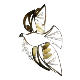 1978 Vintage Curtis Jere Dove of Peace Metal Wall Sculpture, Signed For Sale