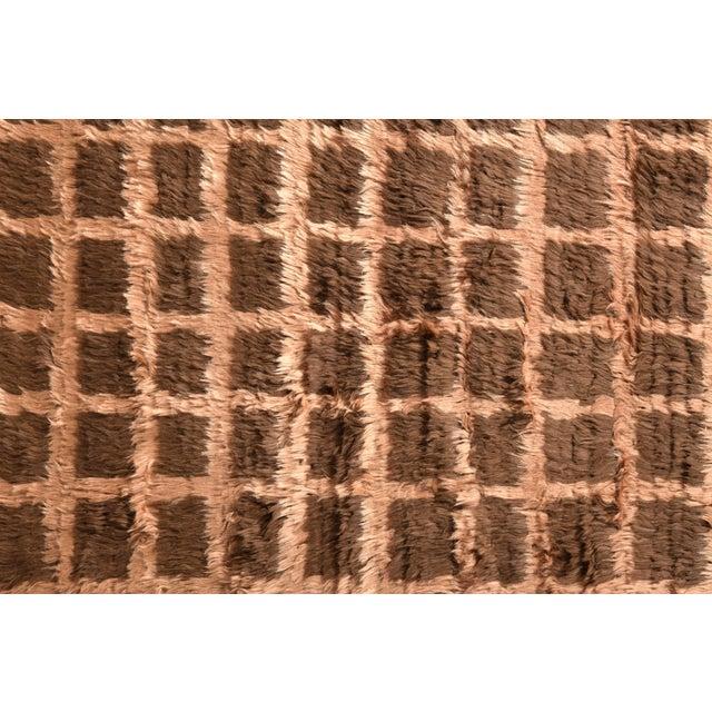 Rug & Kilim Hand Knotted Vintage Tulu Rug Beige Brown Shag Pile Geometric Pattern For Sale - Image 4 of 6