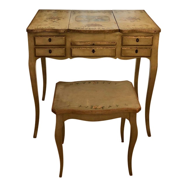 1920s Antique Hand Painted French Vanity With Bench-a Pair For Sale