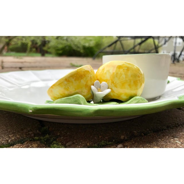 Late 20th Century Italian Ceramic Majolica Trompe L'oeil Lemons Serving Platter With Bowl For Sale - Image 5 of 8
