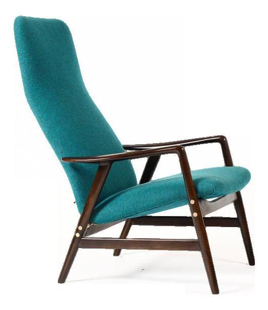 1960s Danish Modern Alf Svensson For Fritz Hansen Walnut Reclining Kontur  Lounge Chair