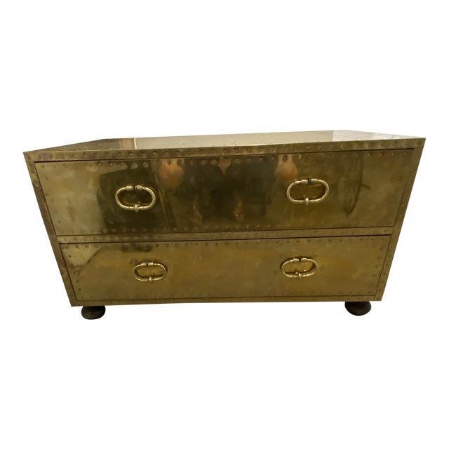Gold Chest of Drawers Cocktail Table For Sale