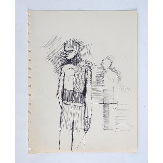 Mid century pen and ink on paper abstract figure drawing. Unsigned. Unframed, age toning, sketch book perforations.