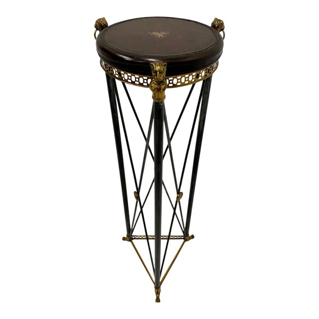 Empire Style Brass Steel and Leather Pedestal For Sale
