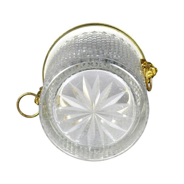 Gold French Cut Crystal Bottle Holder or Ice Pail For Sale - Image 8 of 9