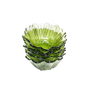 Vintage Indiana Glass Mid Century Green Lily Flower Shaped Bowls - Set of 5 For Sale