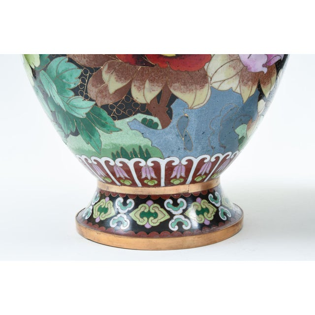 Mid-20th Century Colorful Cloisonné Decorative Vases - a Pair For Sale - Image 4 of 13
