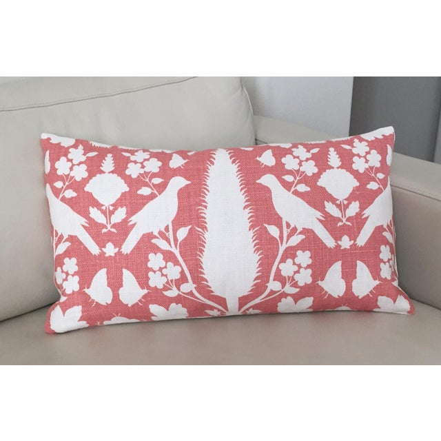 Schumacher Chenonceau is a modern damask design on Coral linen. The pillow cover is made with Chenonceau on the front and...