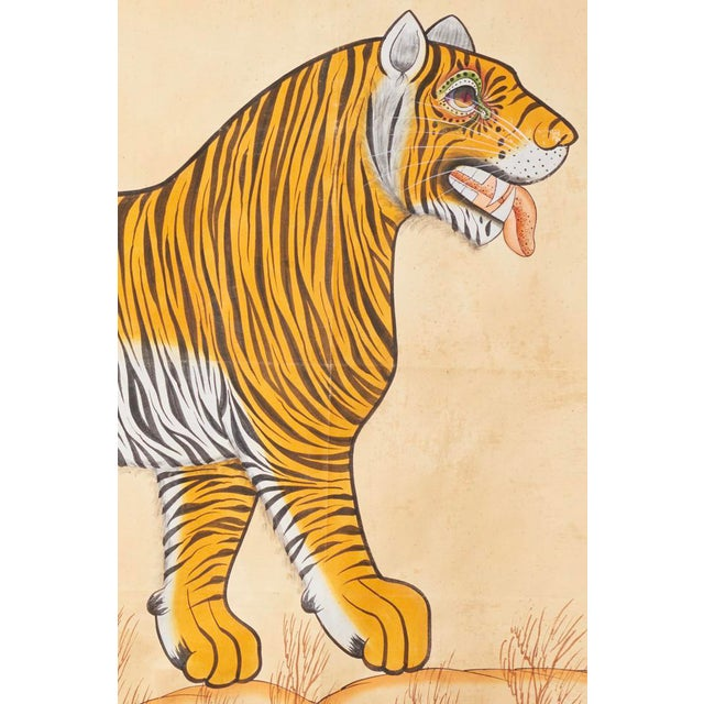 Huge, Hand painted tiger on a canvas type cloth, probably older but date unknown. Large expressive eyes and an impressive...