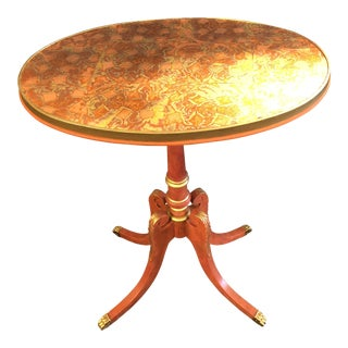 Custom Painted Metal Leaf Top Side Table For Sale