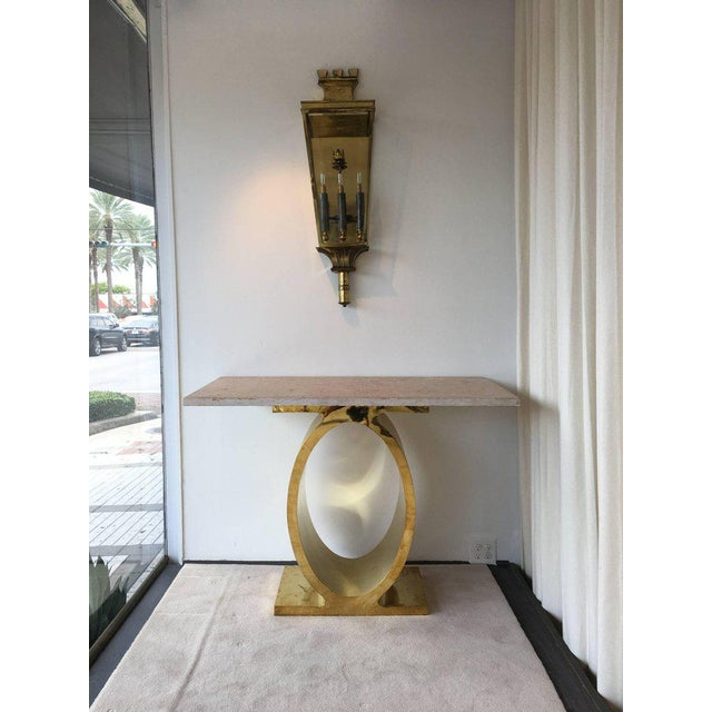 Gold Oval Brass Console Table with Rosso Rustic Marble Top For Sale - Image 8 of 8