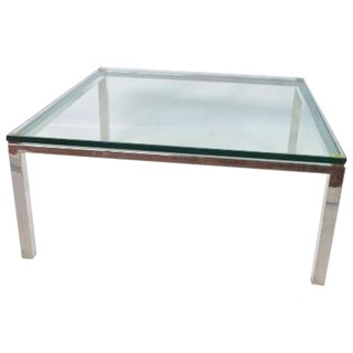 Modern Chrome Steel and Glass Top Coffee Table For Sale