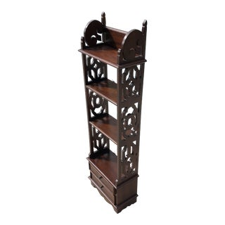 1970s Mid Century Modern Ornate Solid Wood Hanging / Standing Wall Shelving Display For Sale