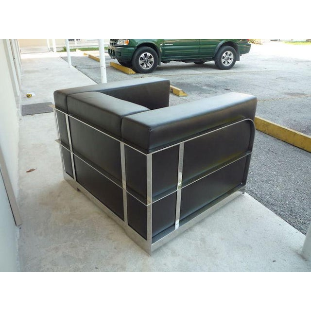 Black 1990s Vintage Architectural Chrome & Leather Cube Chair For Sale - Image 8 of 9