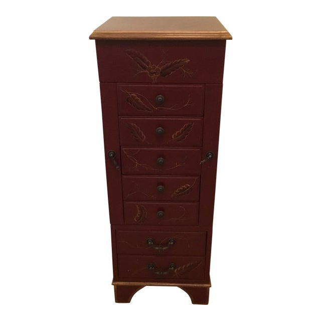 Tall Red Jewelry Chest For Sale