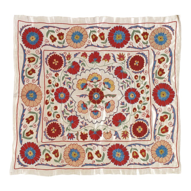 20th Century Asian Suzani Textile Rug - 3′3″ × 3′4″ For Sale