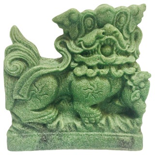 Oriental Green Cast Soapstone Foo Dog Figurine For Sale