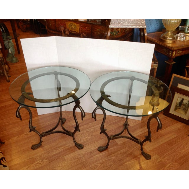 Pair of Midcentury French Steel Swan Motif Tables For Sale - Image 4 of 7