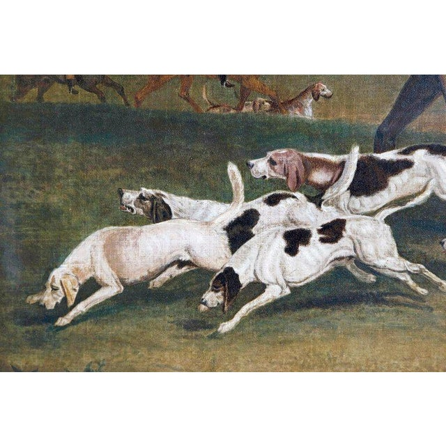 19th Century Oil on Canvas English Hunting Scene of Rider on Horse With Hounds For Sale - Image 9 of 13