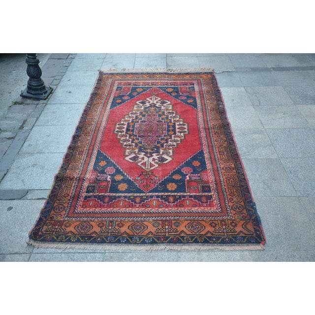 Vintage Anatolian Tribal Turkish Rug - 4′5″ × 7′9″ - Image 2 of 6