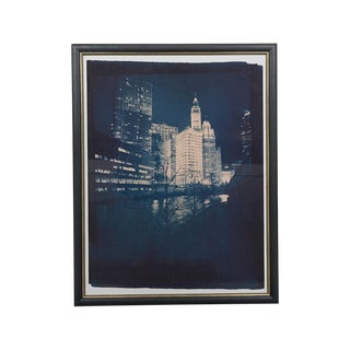 Framed Chicago Night Giclee of a Cyanotype on Archival Paper For Sale