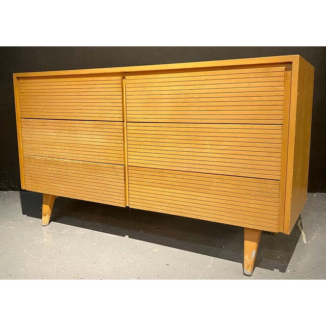 Brown Six-Drawer Mid-Century Modern Commodes, Chests or Dresser - a Pair For Sale - Image 8 of 13