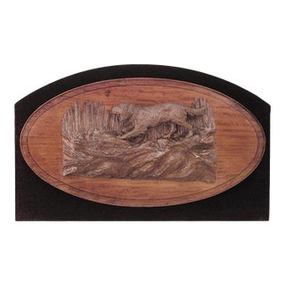 Rustic German Mounted Satinwood Dog Relief For Sale