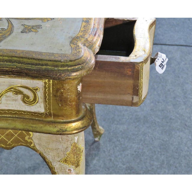 Florentine Italian Gilded Gold Leaf Ladies Mirrored Vanity Makeup Table C1920 For Sale In Philadelphia - Image 6 of 10