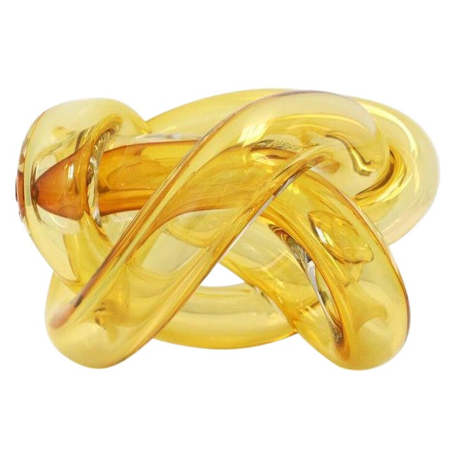 Wrap Object Glass Knot- Amber For Sale - Image 4 of 4