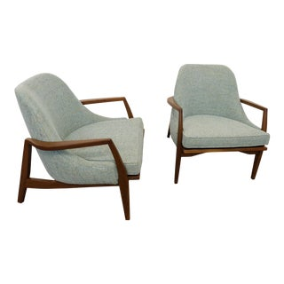 Custom Mid Century Modern Inspired Club Chairs- A Pair For Sale