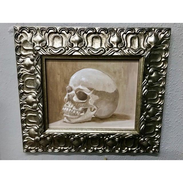 1970s 1970s Vintage Original Framed Skull Oil Painting For Sale - Image 5 of 5