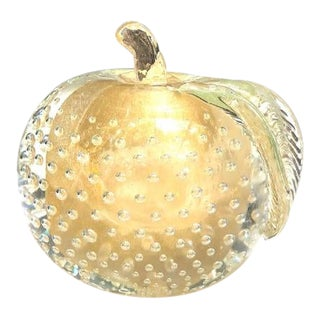 1960s Glass Apple Paper Weight/Bookend For Sale